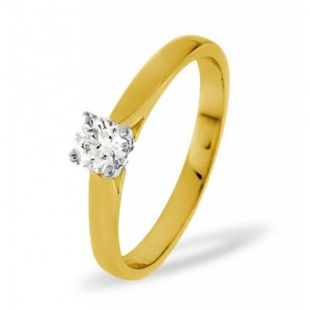 18K Gold 0.33ct Diamond Solitaire Ring, SR04-33PKY